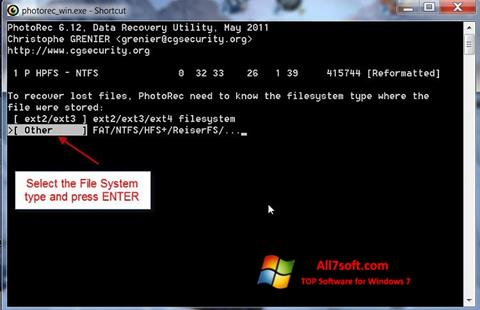 Screenshot PhotoRec Windows 7